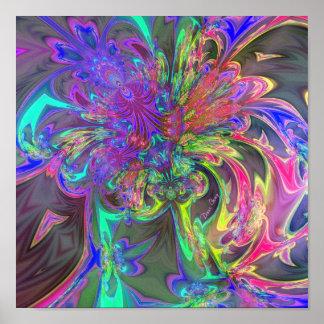 Glowing Burst of Color – Teal Violet Deva Posters