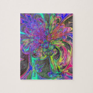 Glowing Burst of Color – Teal Violet Deva Jigsaw Puzzles