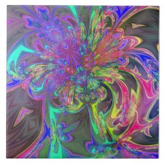 Glowing Burst of Color – Teal & Violet Deva Tile