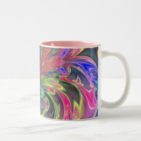 Glowing Burst of Color – Teal & Violet Deva Two-Tone Coffee Mug
