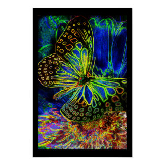 Glowing Butterfly and Flower Poster