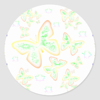 glowing butterfly classic round sticker