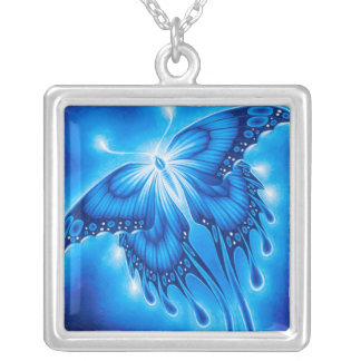 Glowing Butterfly Square Pendant Necklace