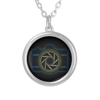 Glowing camera silver plated necklace
