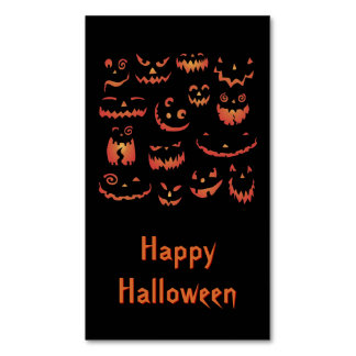 Glowing Carved Halloween Pumpkins Business Card Magnet