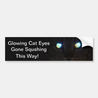 Glowing Cat Eyes Gone Squashing.  This Way! Bumper Sticker