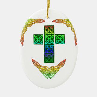 Glowing Celtic Cross Ceramic Ornament