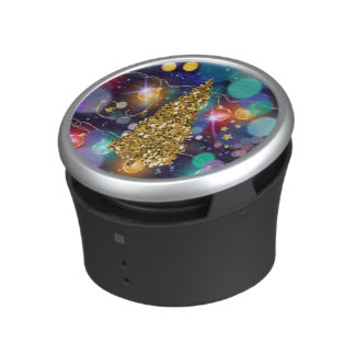 Glowing Christmas Lights Bokeh Golden Tree & Stars Bluetooth Speaker