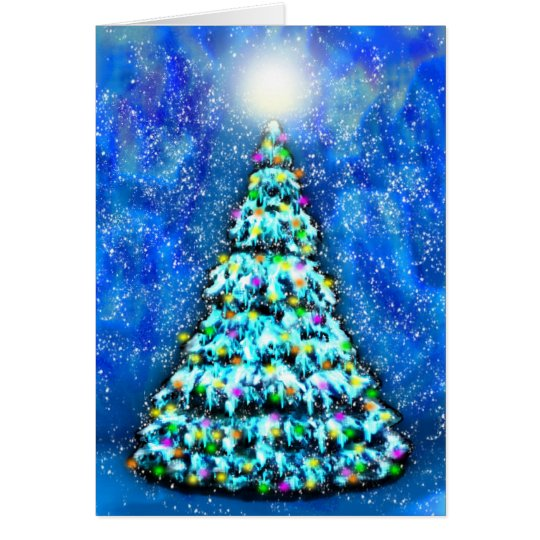 Glowing Christmas Tree Note Card