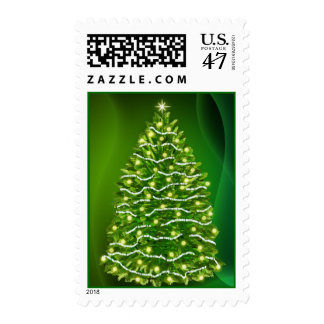 Glowing Christmas tree postage