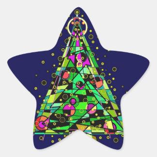 Glowing Christmas Tree. Star Sticker