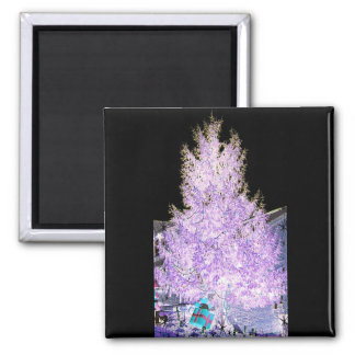 Glowing Christmas Tree themed Products 2 Inch Square Magnet