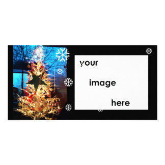 Glowing Christmas Tree White on Blue Card