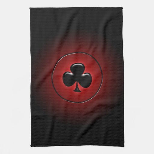 Glowing club card suit kitchen towels