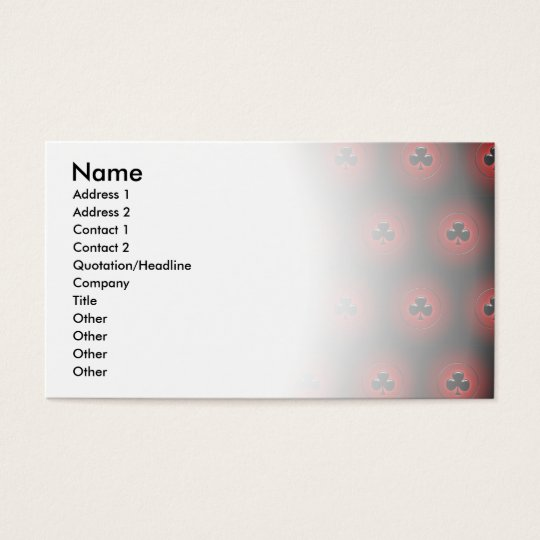 Glowing clubs seamless pattern business card