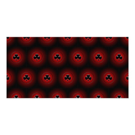 Glowing clubs seamless pattern card