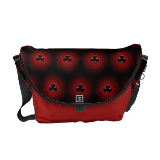 Glowing clubs seamless pattern messenger bag