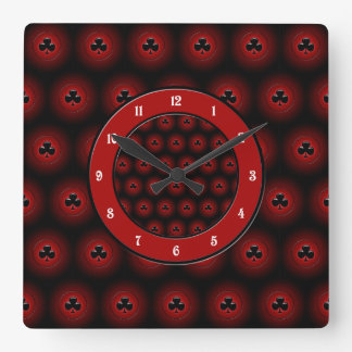 Glowing clubs seamless pattern square wall clock