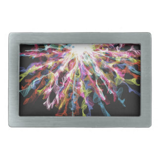Glowing colorful design rectangular belt buckles