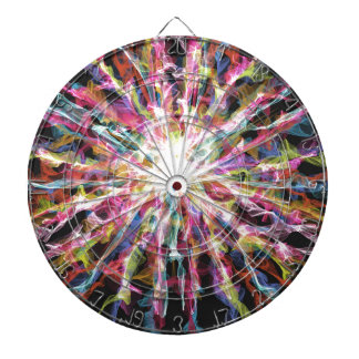 Glowing colorful design dartboard with darts