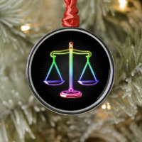 Glowing Colorful Scales of Justice Metal Ornament