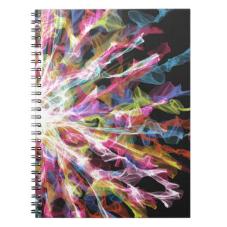 Glowing colorful twists design notebook