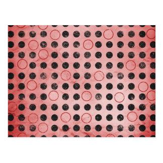 GLOWING CORAL RED BLACK CIRCLES POLKADOTS GRUNGE P POSTCARD