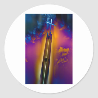 Glowing Cross Points to the Heavens Classic Round Sticker