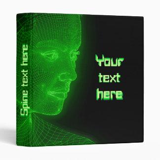 Glowing Cyberspace Cyberwoman - customizable text 3 Ring Binders