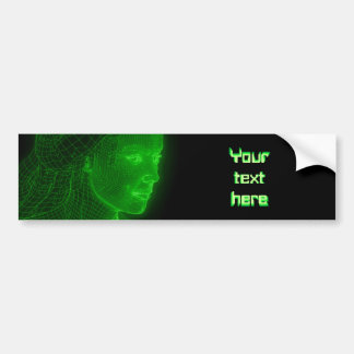 Glowing Cyberspace Cyberwoman - customizable text Bumper Sticker