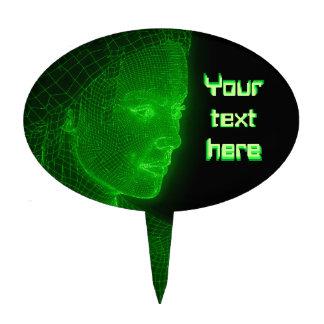Glowing Cyberspace Cyberwoman - customizable text Cake Pick