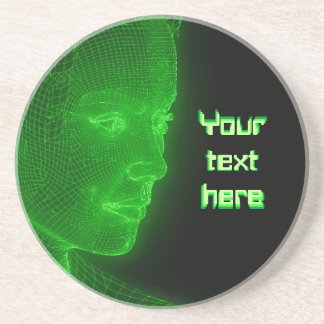 Glowing Cyberspace Cyberwoman - customizable text Drink Coasters