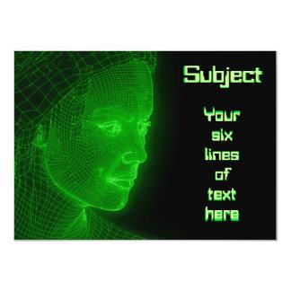 "Glowing Cyberspace Cyberwoman - customizable text 4.5"" X 6.25"" Invitation Card"