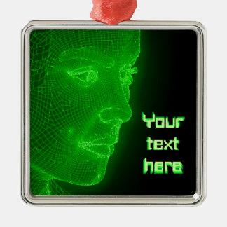 Glowing Cyberspace Cyberwoman - customizable text Metal Ornament