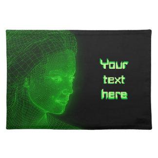 Glowing Cyberspace Cyberwoman - customizable text Place Mat
