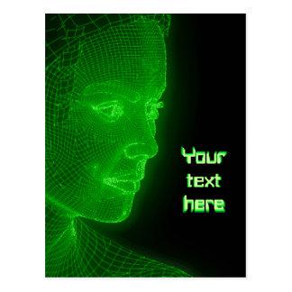 Glowing Cyberspace Cyberwoman - customizable text Postcard