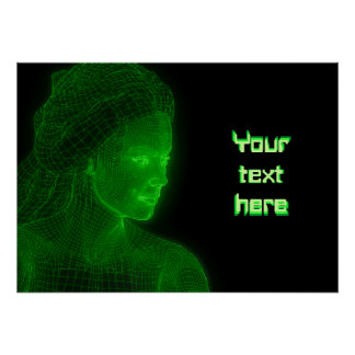 Glowing Cyberspace Cyberwoman - customizable text Print