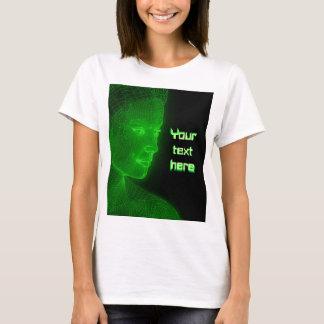 Glowing Cyberspace Cyberwoman - customizable text T-Shirt