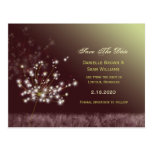 Glowing Dandelions Modern Save the Date Postcards
