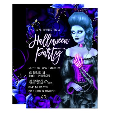 Halloween Themed Glowing Dead Girl Purple Roses Halloween Party Card