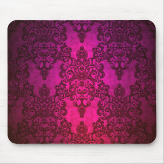 Glowing Deep Pink Damask Pattern Mouse Pad