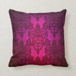Glowing Deep Pink Damask Pattern Throw Pillow
