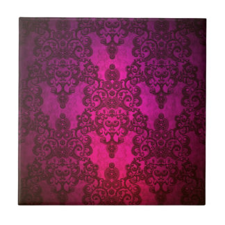 Glowing Deep Pink Damask Pattern Tile