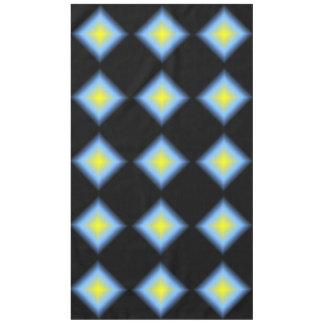 Glowing Diamond Pattern on Black Tablecloth