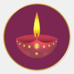 Glowing Diwali Lamp Round Stickers