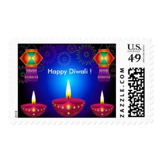 Glowing Diwali Lamps, Lanterns & Fireworks Stamp