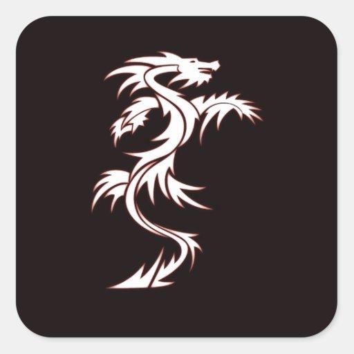 Glowing dragon square sticker