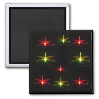 Glowing Dragonflies 2 Inch Square Magnet