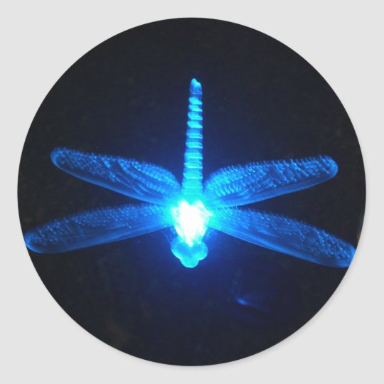Glowing Dragonfly Classic Round Sticker