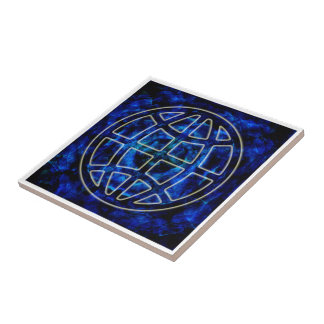 Glowing Earth Icon Over Blue Ceramic Tile